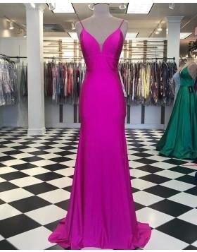 Simple Spagehtti Straps Fuchsia Satin Mermaid Prom Dress PD2040