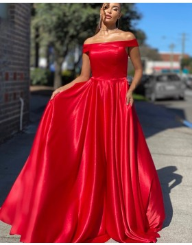 Simple A-line Off the Shoulder Red Satin Prom Dress PD2041