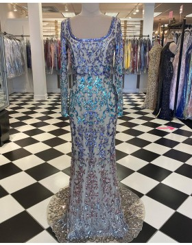 Scoop Sequin Lace Mermaid Prom Dress with Long Sleeve PD2043