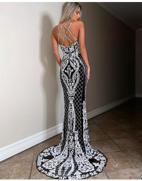 Spaghetti Straps Beading Lace White & Black Mermaid Prom Dress PD2049