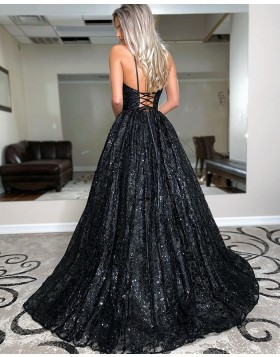 Spaghetti Straps Black Sequin A-line Prom Dress PD2050