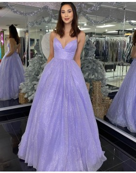 Spaghetti Straps Lavender Sequin Prom Dress with Pockets PD2051