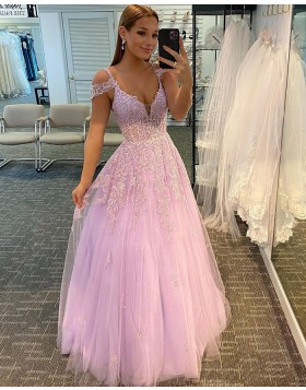 Cold Shoulder Lace Applique Tulle Pink Prom Dress PD2053