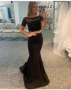 Two Piece Black Bateau Neck Satin Mermaid Prom Dress with Tassels PD2054