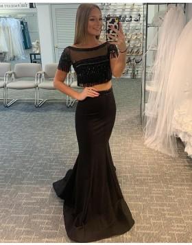 Two Piece Black Bateau Neck Satin Mermaid Prom Dress with Tassels PD2054