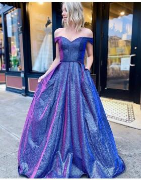 V-neck Metallic Blue A-line Prom Dress with Pockets PD2055