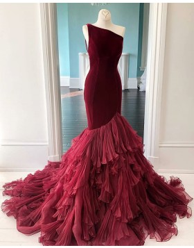 One Shoulder Burgundy Velvet Ruffled Mermaid Prom Dress PD2056