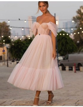 Off the Shoulder Light Pink Tulle Ankle Length Polka Dots Pleated Graduation Dress PD2057