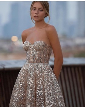 Sweetheart Ankle Length Gold Metallic Graduation Dress PD2058
