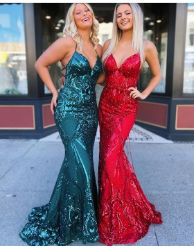 Halter Green Sequin Lace Mermaid Prom Dress PD2059
