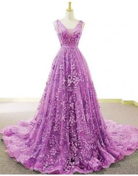 Light Purple V-neck Lace A-line Prom Dress PD2060