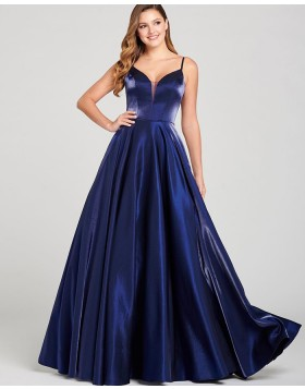 Simple Spaghetti Straps Red Satin A-line Prom Dress PD2064