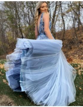 V-neck Beaded 3D Flowers Dusty Blue Tulle Prom Dress PD2067