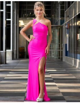 One Shoulder Fuchsia Satin Mermaid Prom Dress with Side Slit PD2069