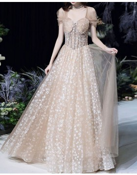 Queen Anne Lace Champagne Evening Dress with Tulle Cap Sleeves PD2072