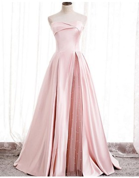 Strapless Light Pink Satin Evening Dress with Beading Tulle Slit PD2074
