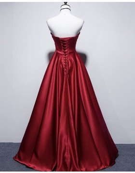 Simple Strapless Red Satin Ruched Prom Dress PD2075