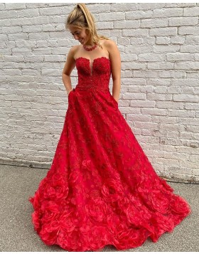 Strapless Red Lace A-line Prom Dress with Pockets PD2079
