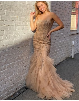 Strapless Champagne Lace Ruffled Mermaid Prom Dress PD2080