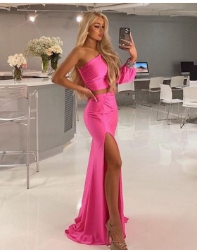 One Shoulder Pink Satin Two Piece Mermaid Prom Dress with Side Slit PD2081