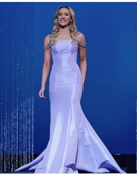 Cold Shoulder Beading Satin Lavender Mermaid Prom Dress PD2083
