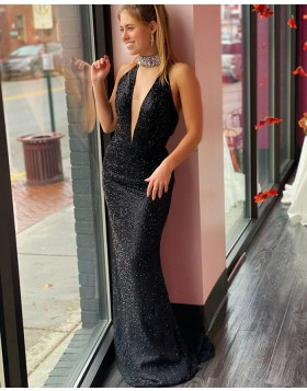 Deep V-neck Glitter-knit Mermaid Black Prom Dress PD2086