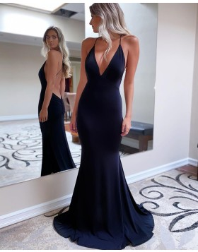 Simple Spaghetti Straps Satin Mermaid Prom Dress with Open Back PD2090