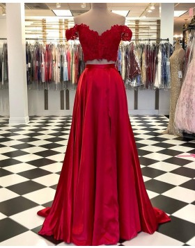 Two Piece Off the Shoulder Red Lace Bodice Satin Prom Dress with Side Slit PD2092