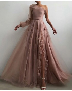 One Shoulder Tulle Nude Pleated Prom Dress with Side Slit PD2093
