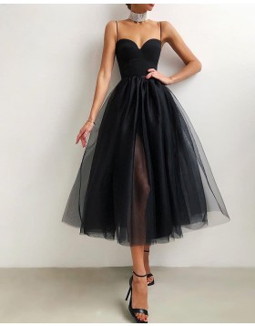 Knee Length Black Tulle Spaghetti Straps Graduation Dress with Side Slit PD2094