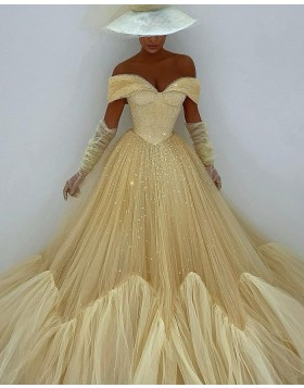 Off the Shoulder Light Yellow Glitter Pleated Evening Dress with Long Sleeves PD2099
