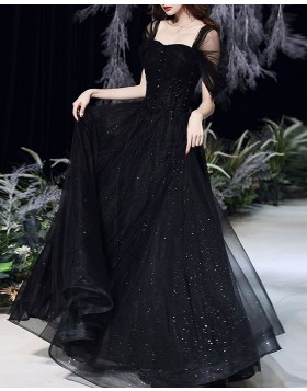 Black Tulle Pleated A-line Prom Dress with Cap Sleeves PD2101