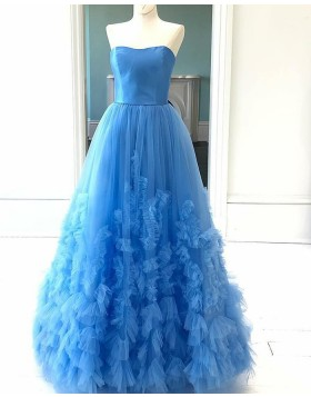 Strapless Sky Blue Pleated Tulle Ruffled Prom Dress PD2103