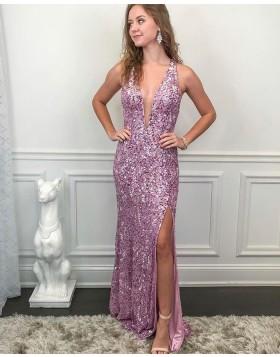 Deep V-neck Glitter Sequin Mermaid Prom Dress with Side Slit PD2105