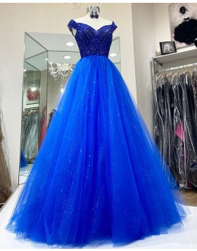 Off the Shoulder Blue Beading Bodice Tulle Prom Dress PD2107
