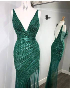 V-neck Sequin Ruched Green Mermaid Prom Dress with Side Slit PD2110