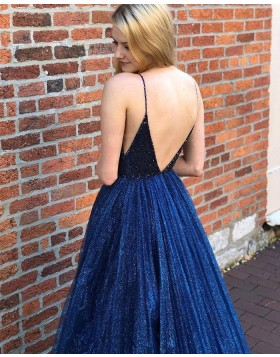Spaghetti Straps Navy Blue Pleated Sequin & Beading Bodice Prom Dress PD2112