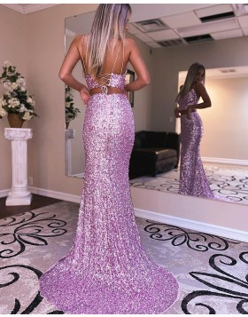 Lavender Spaghetti Straps Two Piece Sequin Mermaid Prom Dress with Side Slit PD2113