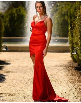 Simple Satin Spaghetti Straps Red Mermaid Prom Dress with Side Slit PD2114