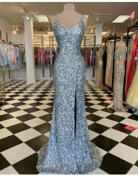 V-neck Silver Sequin Mermaid Prom Dress with Side Slit PD2115