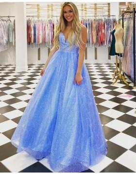 Spaghetti Straps Light Blue Sparkle Tulle Princess Prom Dress PD2116