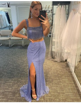 Square Two Piece Lavender Sequin Tulle Side Slit Prom Dress with Tassels PD2117