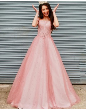 Off the Shoulder Coral Pink Tulle Beading & Applique Prom Dress PD2123