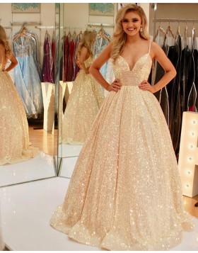 Spaghetti Straps Sparkle Gold Sequin Ball Gown Prom Dress PD2124