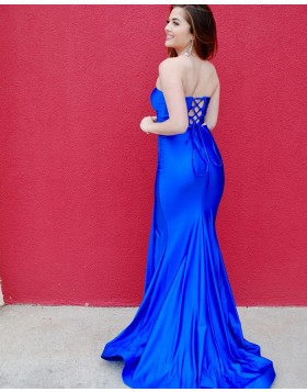 Strapless Two Piece Royal Blue Satin Prom Dress with Side Slit PD2125