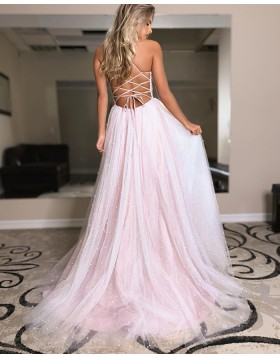 Spaghetti Straps Pearl Pink Tulle Beading Prom Dress with Side Slit PD2126