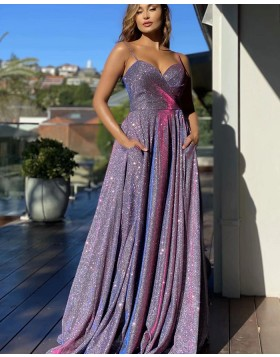 Spaghetti Straps Sparkle Purple Ruched Prom Dress with Pockets PD2129