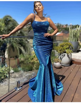 Spaghetti Straps Blue Sparkle Sequin Ruched Mermaid Prom Dress PD2131