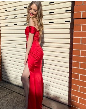 Simple Off the Shoulder Red Satin Prom Dress with Side Slit PD2132