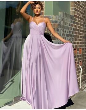 Simple Spaghetti Straps Light Purple Satin Prom Dress PD2134